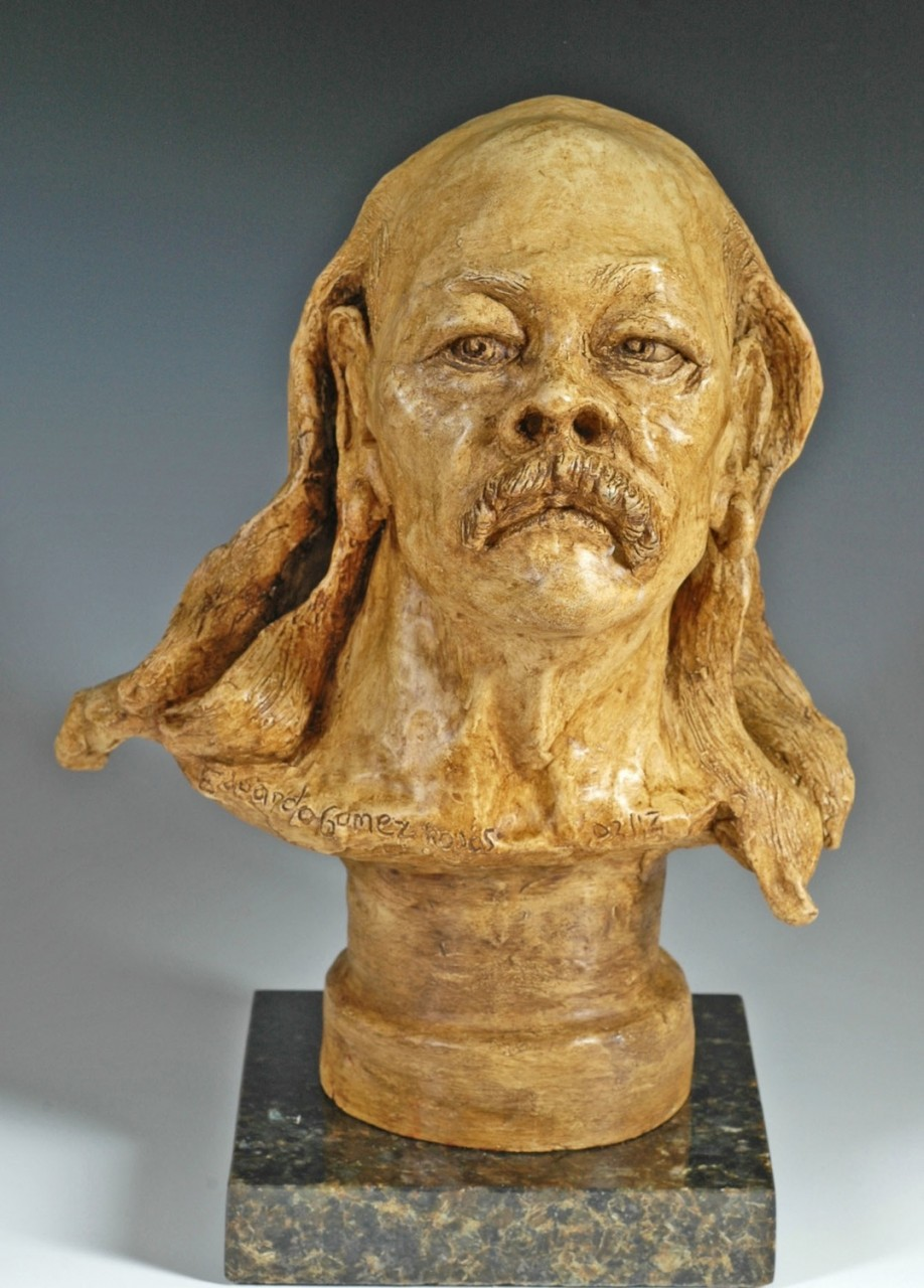 """""""Old Hippie""""  9 x 12 x 7  Fired Clay"""