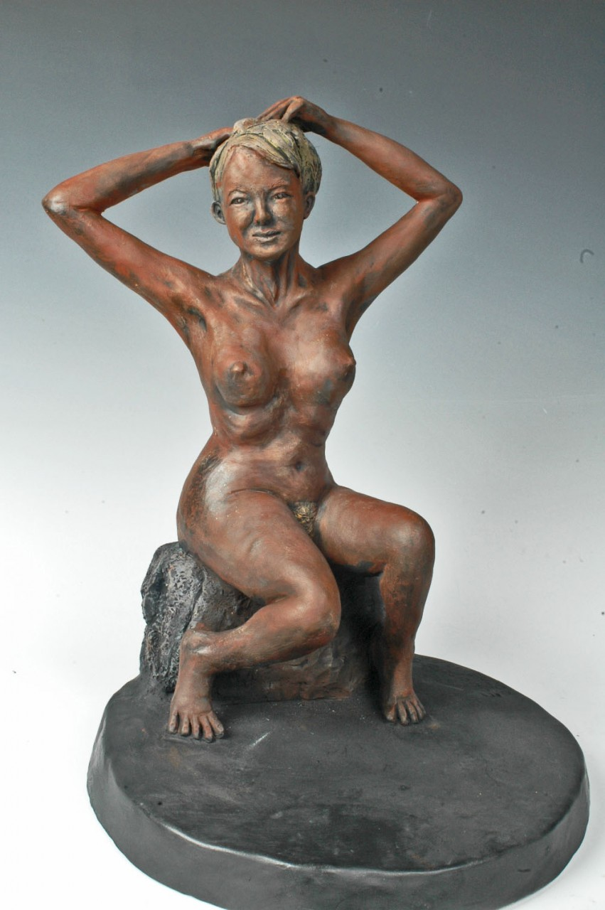 """The Bather"" 10x14x10  Fired Clay"